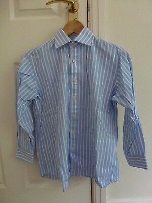 WORLD GROUP Boys 100% Cotton Pale Blue/White Striped Shirt Age 10yrs