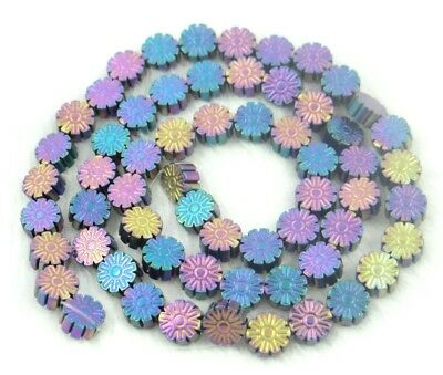 Titanium Multicolored Carved flower Hematite Gemstone loose beads 15Pcs PP7