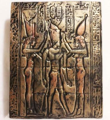 TWIN GODDESSES OF OLD EGYPT 1st Century BC Egyptian temple wall section