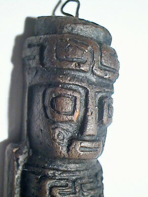 VINTAGE INCA SUN GOD STATUE HAND MADE IN BOLIVIA Signed JEWELRY PENDANT EX