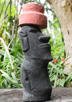 EASTER ISLAND MOAI STATUE with Pukao hat & authentic back carvings
