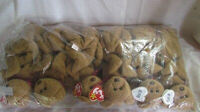 Lot of 12 TY Beanie Babies CURLY Bears, 1993, New In Bag With Mint Tags