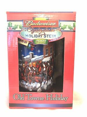 2003 Cs560 Budweiser Holiday Collectable Stein Old Town Holiday