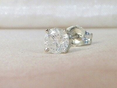 14k White Gold Diamond-.33 tcw Solitaire Stud Earring