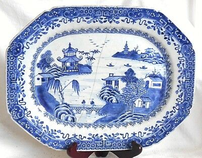 C18Th Chinese Blue And White Meat Dish Bridge Temple And Lake Within A Border