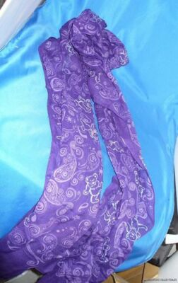 GRATEFUL DEAD DANCING BEAR PURPLE PAISLEY LONG FASHION SCARF100% Voile sheer