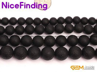 Natural Round Black Agate Onyx Stone Frost Matte Spacer Beads Jewelry Making 15""
