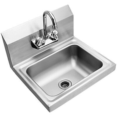Home Stainless Steel Wall Mount Kitchen Hand Washing Sink Basin with Faucet US
