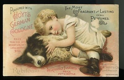 1892 Hoyt's Perfume Image Sweet Girl Loving Her Dog, Rubifoam For Teeth