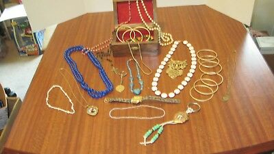 Large Lot Of 25 Pcs. Of Vintage Jewelry And The Box From A Local Estate
