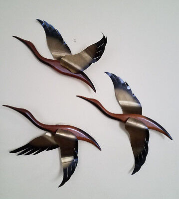 Vintage Mid-Century/Danish Modern Wood&Brass 3 Wall Flying GEESE Art Sculptures