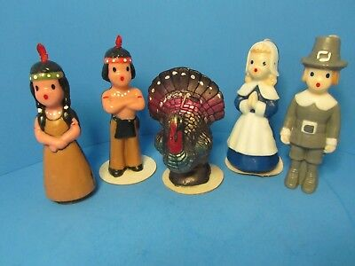 VINTAGE 1950'S-60'S GURLEY THANKSGIVING CANDLES - iNDIANS, PILGRIMS, TURKEY