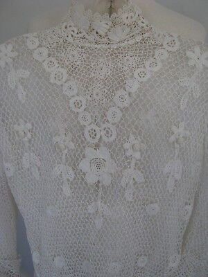 Antique Irish Crochet Lace Blouse High Neck Bodice Top Off White Hand Done 1890