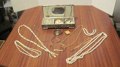 Large Lot Of 32 Pcs. Of Vintage Jewelry And The Box From A Local Estate