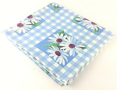 """Vintage Print Tablecloth Blue & White Checked with White Flowers 48"""" x 54"""""""