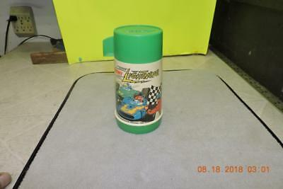 Vintage 1970 Johnny Lightning Aladdin Lunchbox Thermos Green Cup Glass Insert