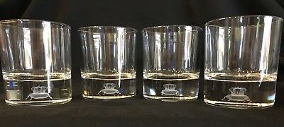 Set of 4 Collectible 3-D Laser Etched Base CROWN ROYAL Whisky Glasses