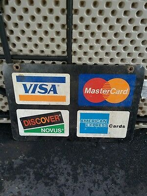 """Vintage Advertising Double Sided Metal Sign Flange Credit Cards 11"""" x 24""""."""