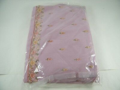 Beautiful Embroidered Polyester Saree With Bead Work Pink And Flowers