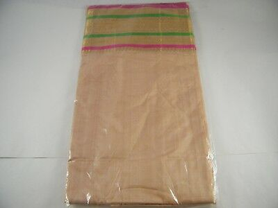 Beautiful Embroidered Polyester Saree Tan And Gold With Green Stripes