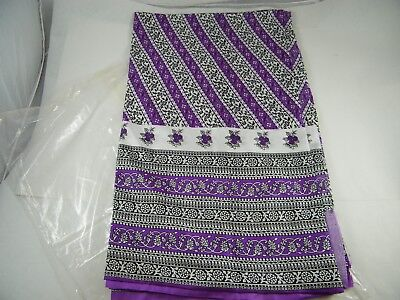 Beautiful Screen Printed Polyester Saree Purple With Flower Pattern