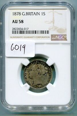 Great Britain Shilling 1878  Semi Key date NGC AU 58 Die # 47  rare lotsept6019