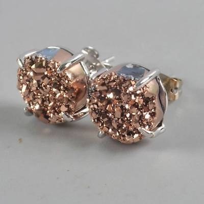 10mm Natural Agate Titanium Druzy Claw Prong Stud Earrings Silver Plated T065071