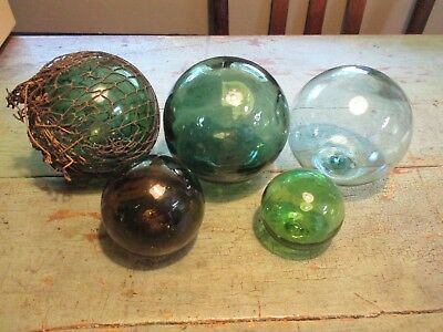 5 Vintage Antique Japanese Glass Fishing Floats Buoy Ball Roped Aqua/green/amber