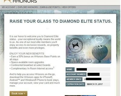 Hilton Diamond Membership [90 Day Validity - Can Be Extended Till 2020]