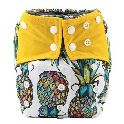 Baby Cloth Diaper Nappy Cover Bamboo Charcoal Reusable Gussets Pineapple Summer
