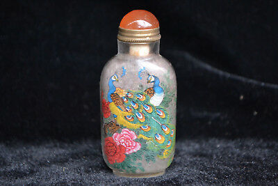 Collectible china Handwork glass inside paint noble peacock flower Snuff Bottle