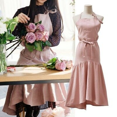 Women's Pure Color Apron Fashion Barber Shop Bookstore Restaurant Soft Dress 1PC