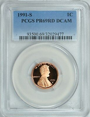 1991-S LINCOLN CENT 1c PROOF PCGS PR69RD DCAM