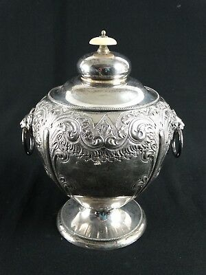 Antique heavily Worked Silver plate Biscuit barrel  MARK WILLIS & SON c1882 -85