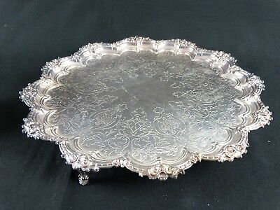 Antique heavily Worked Silver plate Salver Maxfield & Sons of Sheffield England
