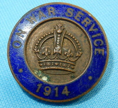 WW1 ON WAR SERVICE 1914 HOME FRONT MILITARY LAPEL BADGE By FIRMIN & SONS LONDON
