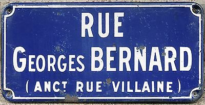 Old French enamel steel street sign road plaque name Rue Georges Bernard 1960