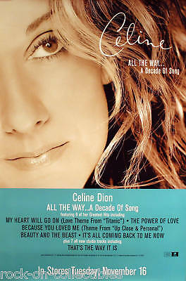 Celine Dion 1999 All The Way Promo Poster Original