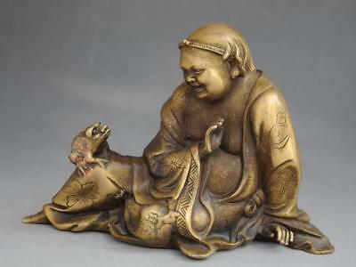 chinese old feng shui copper  hand engraving  Liu hai plays jin toad statue f01
