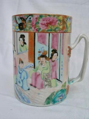 Superb Antique Chinese Export Porcelain Hand Painted Tankard.