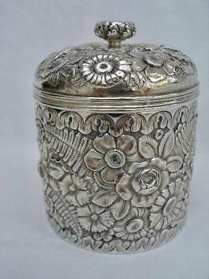 Rare Antique Repousse Decorated Sterling Silver Tea Caddy By Tiffany & Co.