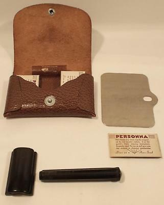 Vintage Worthington Caravan Shaving Kit Razor Persona Blades Leather Case