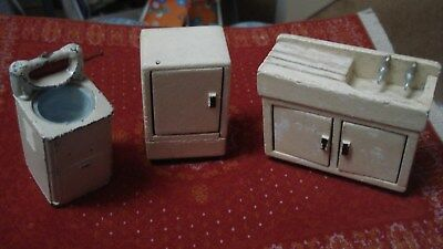 Antique/vintage,painted wooden sink,fridge and metal washer for old dolls house.