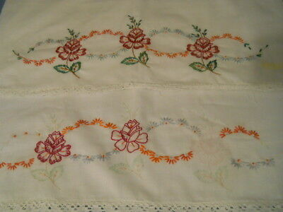 Vtg Pair  Hand Embroidered White Cotton Blend Seamless  Pillowcases Unfinished