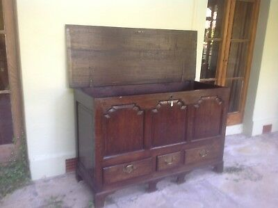 antique oak mule chest, Victorian, lift up lid, 3 panelled front anddrawers