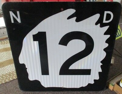Vintage RETIRED NORTH DAKOTA HIGHWAY 12 SIGN...INDIAN HEAD!...NICE ONE!