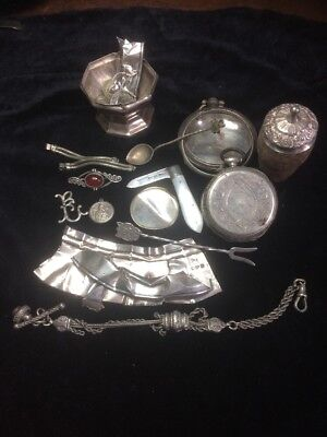 Antique Scrap Silver or Resell Hallmarked 171grams Some To Good To Scrap