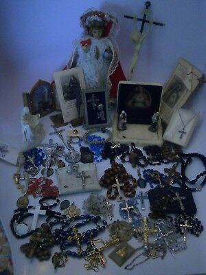 50+ Vintage-now Religious Lot Rosary Crucifix Sterling Paladini Statue Relic