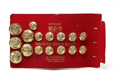 Hamilton Gold Plated Enlisted Dress Blues Buttons -OSMN 3918