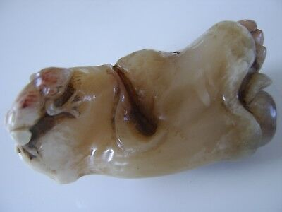 Chinese Soapstone Antique Seal Free Form Carved With Frog  - Jade Interest